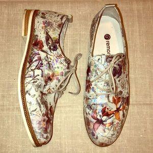 Remonte Soft D2602 Metallic Floral Oxfords Shoes